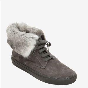 Vince Grey Suede High Top Sneaker With Fur